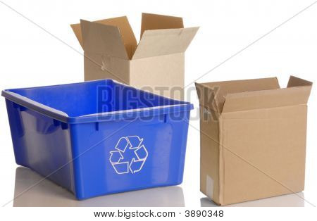 Blue Recycle Bin And Boxes