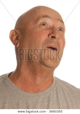 Senior Bald Man Making Oh Expression