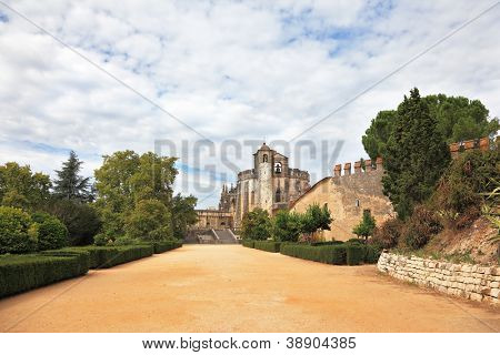 The imposing medieval castle - the monastery of the Templars. Park and outbuildings
