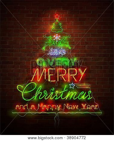 Christmas neon sign against red wall. Vector Illustration.