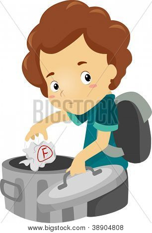 Illustration of a Boy Throwing a Test Paper Marked with a F Away