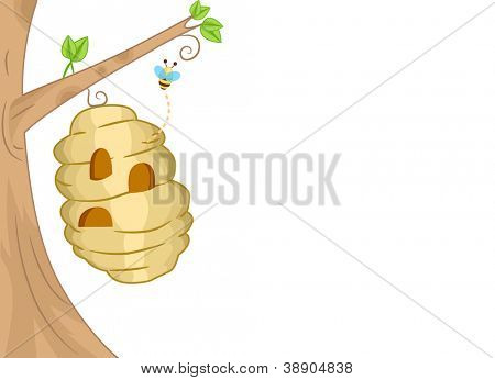 Background Illustration Featuring a Bee Coming Out of a Beehive
