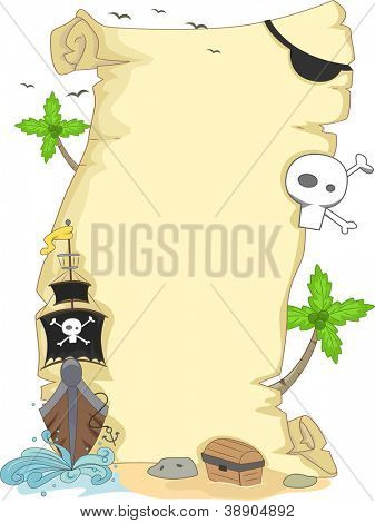Background Illustration Featuring a Scroll with a Pirate Theme