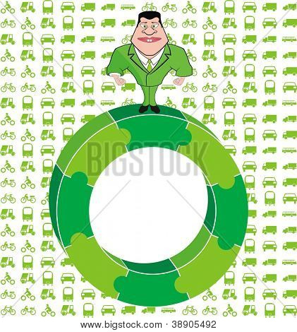 Vector - Man Standing on Green Puzzle Circle and Vehicles Background - Green Environment Concept