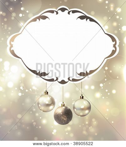 elegant glimmered Christmas poster with evening balls