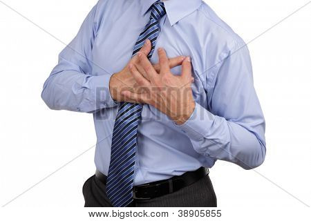 Businessman with chest pain clutching his chest concept for heart attack, stoke or asthmatic