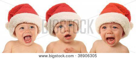 Tres bebés de la Santa Navidad, felices, serios y tristes.