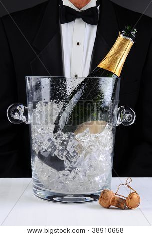 Closeup of a waiter standing behind a champagne bucket, Shallow depth of field man is unrecognizable. Vertical format.