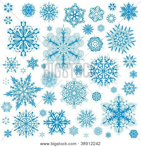 Snowflakes Christmas vector icons. Snow flake collection graphic art