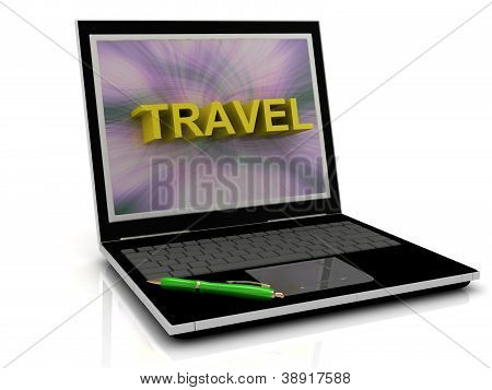 Travel Message On Laptop Screen