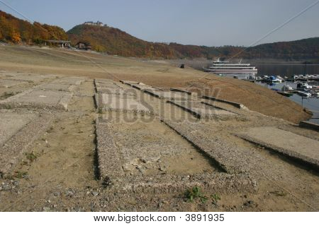 Empty Reservoir Edersee, Germany With Lost Cementary