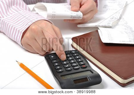 Business woman checking her company invoice