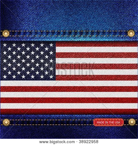 Stars and Stripes motif of denim background with stitch detail and rivets. Made in the USA concept. EPS10 vector format.