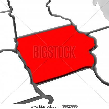 A red abstract state map of Iowa, a 3D render symbolizing targeting the state to find its outlines and borders
