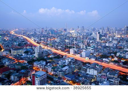 aerial view of Bangkok Highway and skylines building downtown