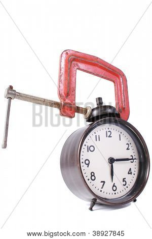 Black alarm clock with a clamp
