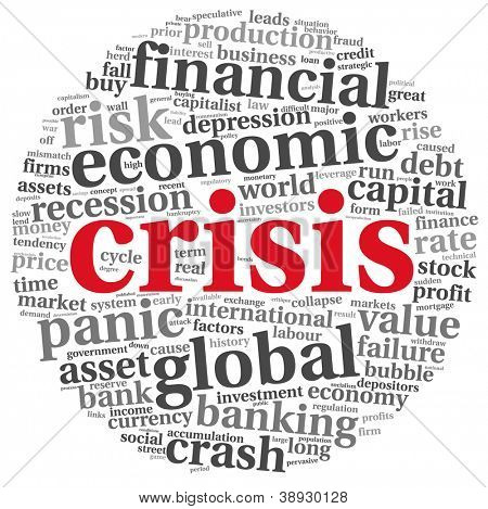 Crisis concept in tag cloud on white background