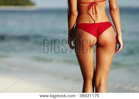 Sexy back of a beautiful woman in red bikini on sea background
