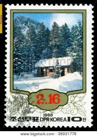 Vintage  Postage Stamp.  The Native House Kim Ii-sung.