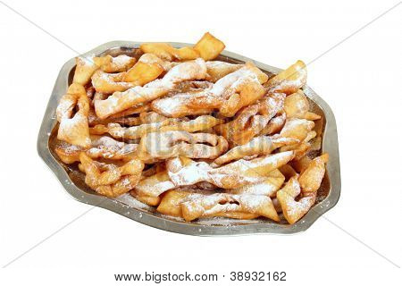 Polish fried cakes are sweet crispy, made out of dough that has been shaped into thin twisted ribbons, deep-fried and sprinkled with powdered sugar.