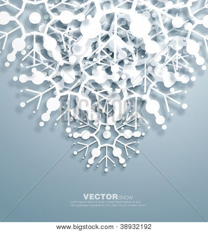 Vector   decorative  design of overlapping  snowflakes . The shadows are entirely vector based .