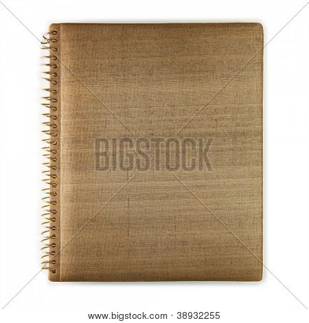 Old brownish photo album, isolated on white.