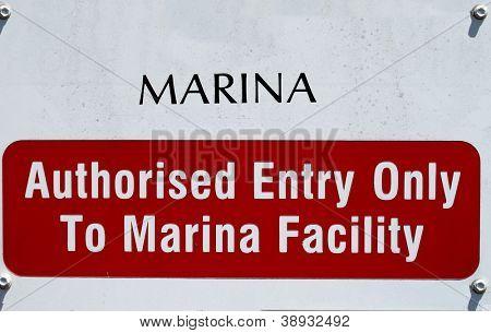Security Sign at Marina 2