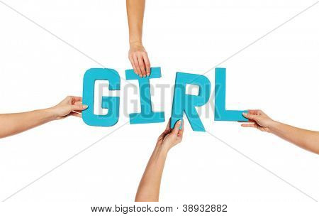 Turquoise blue alphabet lettering spelling GIRL held up over an isolated white background by outstretched female hands