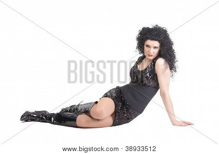 Portrait Of Drag Queen Lying On Floor