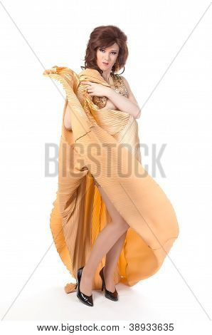Portrait Of Drag Queen. Man Dressed As Woman