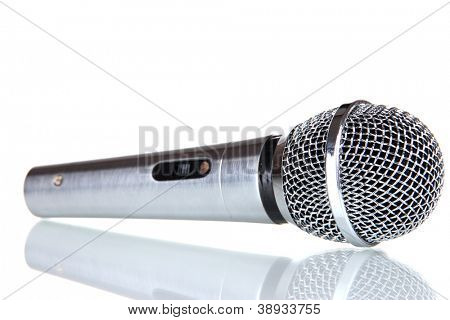 Silver microphone isolated on white