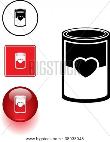 love soup or canned love symbol sign and button