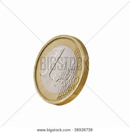 One euro coin isolated on white background.
