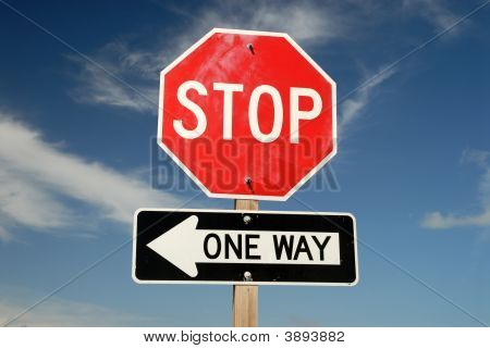 Stop One Way Traffic Signs