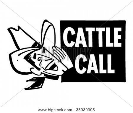 Cattle Call - Retro Clipart Illustration