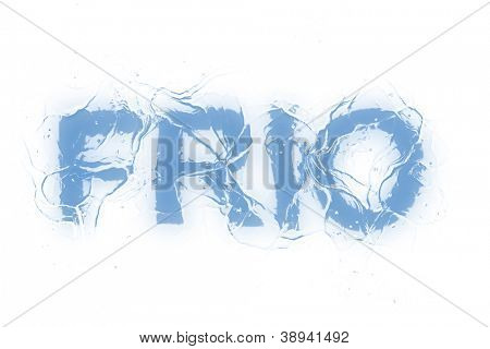 A frozen word/phrase form a serie isolated on a white background. 'Frio' in Portuguese-Br language means 'Cold'.