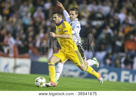 VALENCIA - NOVEMBER 7: Volodko with ball during UEFA Champions League match between Valencia CF and FC Bate Borisov, on November 7, 2012, in Mestalla Stadium, Valencia, Spain