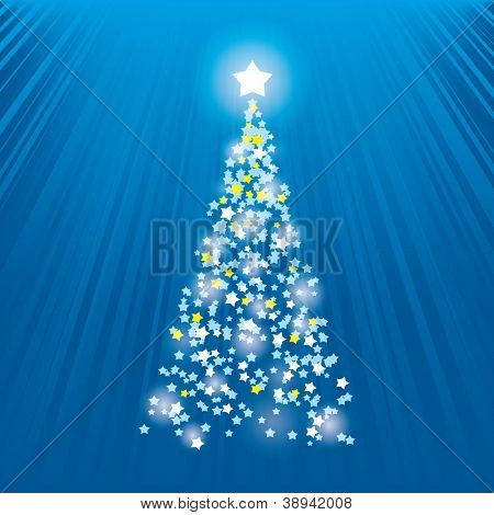 Abstract Christmas tree. Blue background