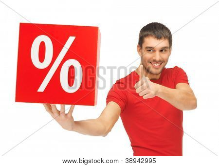 handsome man with percent sign showing thumbs up