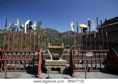 BEIJING - OCTOBER 13: Ancient weapons on display at the Great Wall of China on October 13, 2012 in Beijing, China.The wall protects Beijing was refortified in the 16th century in the Ming Dynasty.