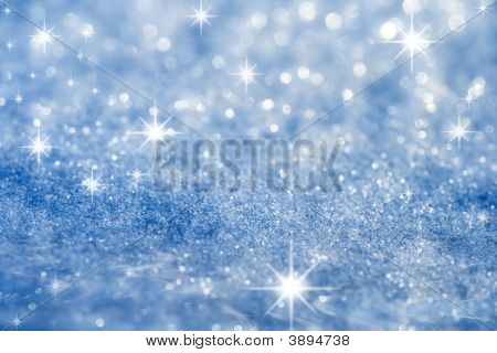 Blue Star And Glitter Sparkles  Background