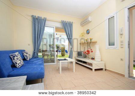 Interior of a resort vila in greece