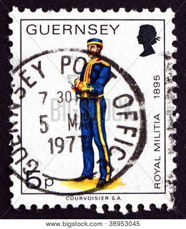 Postage stamp Guernsey 1974 Royal Militia, 1895