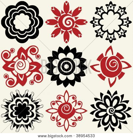 Abstract floral icons vector design elements rating 5