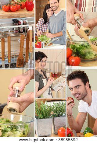 Mosaic of couple preparing vegetables
