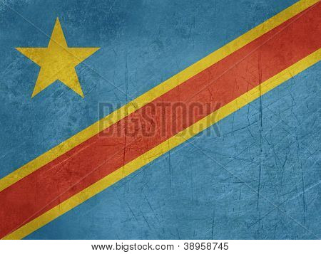 Grunge sovereign state flag of country of Democratic Republic of Congo in official colors.
