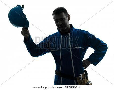 one caucasian man construction worker saluting smiling silhouette portrait in studio on white background