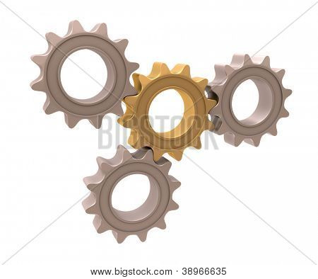 Pinion gear close-up on a white background