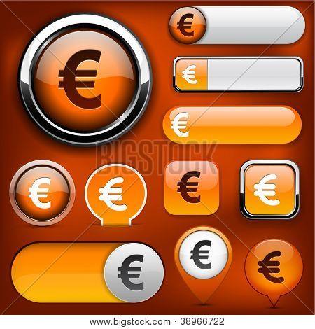 Euro orange design elements for website or app. Vector eps10.