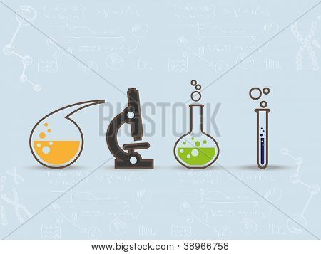 Set of scientific laboratory equipment symbols on blue background